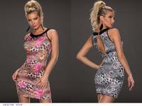 Women Fashion whihte Black Pink Sleeveless Mini Brief Print Bodycon Summer Casual Dress vestido de festa 2014