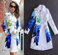 European Streetwear Fashion Coat Women's Elegant Long Sleeves Blue Flower Print With Sashes Long Trench Coat