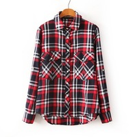 2014 Fashion and Casual Women's Plaid Long Sleeve Turn-down Collar Blouse Shirt   Free Shipping J104