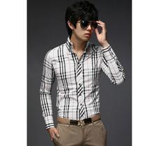 2014 Autumn Plaid Shirt Long Sleeve men Shirts Brand Luxury camisa slim masculina Social Dress casual