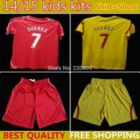 14/15 Liverpool kids home red away yellow soccer football jerseys shorts kits, Liverpool children soccer shirt , uniform