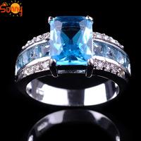 Sz7/8/9/10 ashion Jewellery Aquamarine  men's/ladys 14KT white Gold Filled Ring
