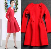 European Runway High Street Fashion Women's Preppy Sweet Red Long Sleeves Above Knee Cotton Sheath Dress