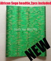 National Green colour 2014 African SEGO headtie,New design Gele&Ipele,Head Tie&Wrapper,2pcs/set,wholesale