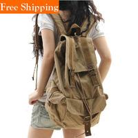 Canvas Men Travel Bags Kpop Vintage Genuine Leather Canvas Rucksack Man Women Mochila School Kids Femininas Tiger Head Backpacks