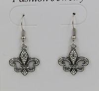 Hot !  Earring, 24 pair Antique Silver * Fleur De Lis * SP Earrings Antique Silver Fishhook Ear Wire 37x18 mm   qw2