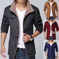 Fur Collar Wool Coat Men Plus Size Medium Long Men's Winter Woolen Coat 2014 New Fashion Black Grey Blue XL XXL 3XL 4XL 5XL 6XL