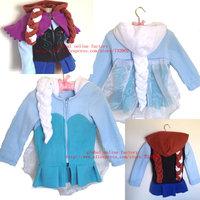 Retail+New 2014 Autumn Frozen Jacket,Fashion style Elsa Anna with hair,Lovely Winter children girls Chirstmas coat,100% Fleece