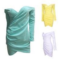 Free shipping fashion cross V neck long sleeve women's sexy club dress