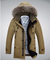 2014 Winter New Men'S Brand Jackets Men'S Fashion Thick Hooded Natural Fur Down Jacket Men Long Paragraph  90% Down Coat XG-208