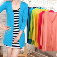 2014 Spring Autumn Women Casual Cardigan Candy  Cotton Long Sleeve Knitted Sweaters Tops V-neck Outwear Coat CL135