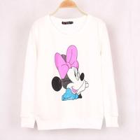 2014 New Antumen Cute Mouse Bow 2 color soild women hoody print sweatshirt long sleeve Pullover