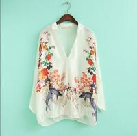 2014 Summer New Vintage Women Clothing Chiffon Full Batwing Sleeve White Deep V Neck Print Blouses Shirts Blusas Femininas