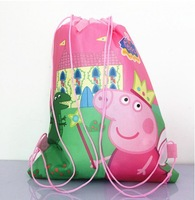 2014 New+Hot,Party Favors Non Woven Fabric saco da escola,Natal Children Cartoon Drawstring School Backpack peppa pig Bags