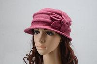 Fashion Vintage Autumn Winter Elegant dress caps for woman high quality 100% wool cloche Flower Crushable headwear girl lady hat