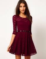 The new European style lace dress lace shirt wild Slim waist dress ladies skirt