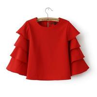 2014 Spring New Novelty Three Quarter Sleeve O-neck Red Beige Black Lantern Sleeve Ruffle Shirts Blouse for Women