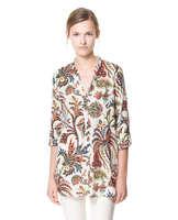 2014 Spring Autumn Summer Three Quarter Sleeve Tropical Plants Floral Print Chiffon V-neck Womens Blouses