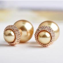 Italina Brand Double pearl stud earrings for women Fashion Jewelry 18K Gold filled Brincos ouro de festa Boucles Bijoux women