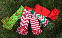 free shipping baby chevron chirstmas leg warmer with cotton ruffle zig zag leg warmers ruffled leg warmer
