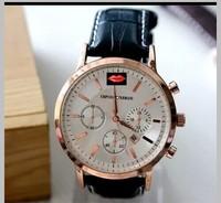 The new PU strap golden dial men's wear women's clothing circular calendar quartz watch free shipping  watches