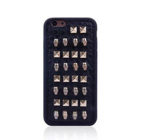 For iphone 6 4.7inch Hybrid case punk rivet clinch skull Leather cover Soft TPU gel back cover case for iphone6 Free shipping