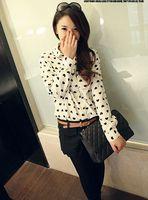 2014 Spring Casual Long Sleeve Lapel Turn-down Collar Chiffon Hearts Print Women Blouse Shirt with Button