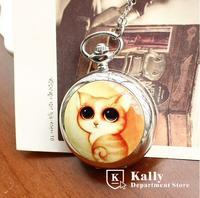 Hot Selling New large cute kitty enamel pocket watch vintage pocket watch wholesale