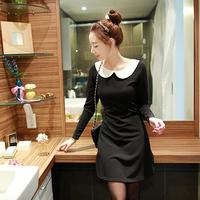 2014 Autumn long-sleeved knit dress fat MM doll collar Korean Slim large plus size women models fall winter dress