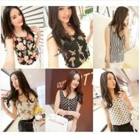 2014 Spring New Fashion Women Girt print Casual Chiffon Vest Top Tank Sleeveless Shirt Blouse S-XXXL Free Shipping