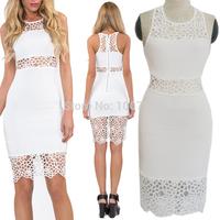2014 New  Fashion White Sleeveless Crochet Lace Insert   Bodycon Pencil Dress Sexy Women Summer Bandage Midi Dress