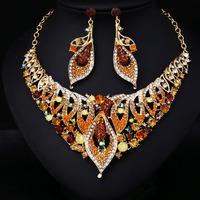 K1091Y Hot Sale Women Crystal Rhinestone Bridal Jewelry Set African Wedding Jewelry Set Big Bridal Necklace Earrings