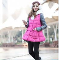 Women's brand winter down parkas plus size fur collar parkas jackets with hat S-XL blue red  PA-820