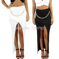 New Women Black White Sexy Metal Chain Detail Slip Pencil Skirt Summer 2014  High Waist Asymmetrical  Bandage Maxi Skirt