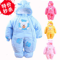 Free Shipping 2014 Winter newborn baby thick rompers children wadded jacket kids warm cotton-padded fleece jumpsuits overalls