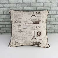 New cotton & linen pillow Eiffel Tower design Mediterranean style manufacturersale  cushion cover (withtout filler)  customized