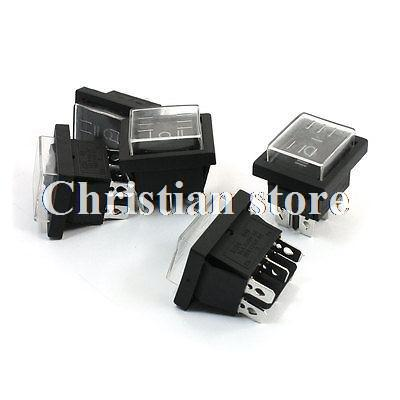 Кулисный переключатель Rocker Switches 5Pcs AC 16 /250 20 /125V DPDT 6Pins 3Position w -- 5pcs ac250v 16a 125v 20a dpdt 6pin 2 position rocker switch w waterproof cover
