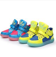 2014 New Fashion Basketball Running Children Boots Super Luminous Boys / Girls Children Shoes Kids Sneakers