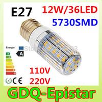 2Pcs/Lot E27 SMD5730 LED Corn Lamps  36Led  LED Bulb Light 12w 110v 120v 130v 220v 230v 240v Wall Downlight Pendant High Bright
