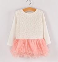 5pieces/lot, Autumn long sleeve 3-D Rose Flower Baby Girls Dress Children gauze Dresses, pink/green, A-bg248