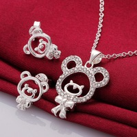Fashion 925 Sterling Silver Plated  Crystal Cute Bear Earring Pendant  Jewelry Sets For Women