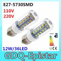 2pcs Factory price SMD573012W E27 led bulb 220V/110V Warm White/ white,36LED 5730 Led corn lamp