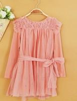 5pieces/lot, Autumn long sleeve Lace Baby Girls Dress Children gauze Dresses, pink, A-sq248