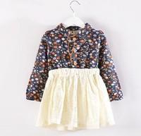 5pieces/lot, Autumn long sleeve Floral Lace Baby Girls Dress Children Dresses, blue/red, A-bg241