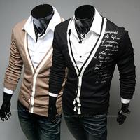 2014 New Hot Stylish letters printed Warm Winter Autumn cardigan sweater jacket Men Slim V-neck regular Solid sweater Tops