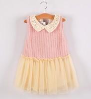 5pieces/lot, Autumn Winter Sleeveless Knitted Baby Girls Dress Children Dresses, pink/red, A-bg247