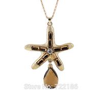 Collares Vintage Necklaces & Starfish Waterdrop Pendants Cuban Link Chain Necklace 2014 Fashion Design