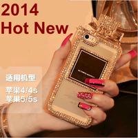 Luxury Brand Perfume Bottle Bling Diamond Soft Case For Samsung Galaxy S5 I9600 S4 I9500 S3 I9300 Handbag Cover Leather Chain