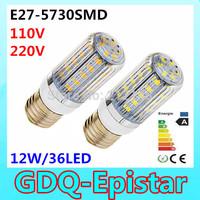 1pcs 5730 SMD 36LED 12W E27 E14 110V 120V 220V 230V 240V Corn Bulb Light  Lamp LED Lighting Warm/Cool White Stripes cover