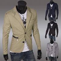 2014 New Arrive Hot Fashion coats suits Mens casual Stunning slim fit Jacket Blazer  pocket zipper design Short Coat SU79